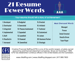 Power Words For Resumes Creative Financial Staffing Power Words To Improve Your Resume