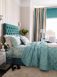 blue curtain bedroom decoration