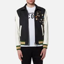 dsquared2 men s wool leather and denim jacket with pins mixed colours image 1