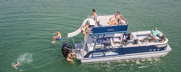 2018 avalon ambassador funship pontoon boat family on water slide