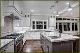 Marble Countertops With White Cabinets Open Plan Kitchen Black