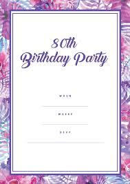 95 80th Birthday Invitations Free Printable Cheap 80th