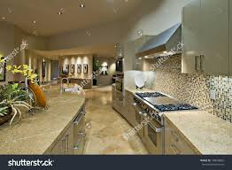 Open Plan Kitchen Living Room Open Plan Kitchen Living Room Modern Stock Photo 148009802