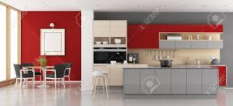 Cuisine Moderne Rouge Et Gris Avec Salle à Manger Rendu 3d Banque