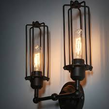 vintage bedroom lighting. Vintage Wireless Double Tube Wall Lamp Indoor Bedroom Light Lamparas Applique Home Decoration Restaurant Iron Cage Retro Sconce Lighting I
