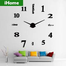 whole 3d large sticker decorative wall clocks living room mirror metal decorative diy wall watch big numbers clock design home clocks wall art clocks