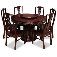 48in rosewood flower birds design round dining table 6 chair dining table cloth