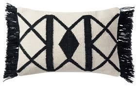 loloi 13 x21 contemporary poly pillow black and ivory contemporary outdoor cushions and pillows by homesquare
