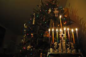 Douglas and Manny Shine Together; or the Christmas Tree and the Menorah