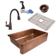copper sink faucet.  Copper SINKOLOGY Lange AllinOne Farmhouse Copper Sink 32 In Single Bowl Kitchen Intended Faucet 2