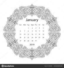Volwassen Kleurplaat Met Maandkalender Van 2019 Jaar Geïsoleerd Een