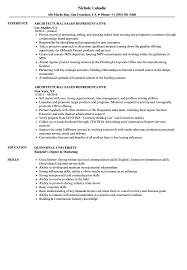 Sales Representative Resume Architectural Sales Representative Resume Samples Velvet Jobs 43