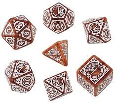 Q-Workshop Steampunk Clockwork Dice Set Caramel with White Etches (7 Piece  Set)