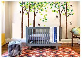 luckkyy large five tree wall decal tree wall sticker removable vinyl mural art wall stickers kids room nursery bedroom living room decoration