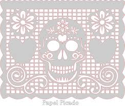 Papel Picado Designs For Day Of The Dead Sugar Skull Papel Picado Pattern Template