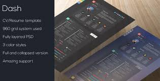 dash modern resume template psd psd resume templates