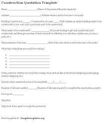 Sample Construction Contract Construction Quote Template