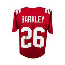 Store Amazon's Saquon Jersey Barkley Jsa Football Collectibles At - a Autographed Custom Sports Red