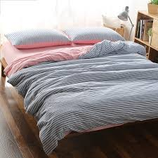 4pcs 100 cotton super soft jersey knitted fabric navy style blue stripe duvet cover with solid pink ed sheet bedding set in bedding sets from home