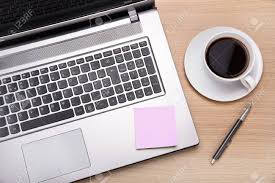 office desk work. Coffee,laptop And Post It Work On Office Desk Stock Photo - 34541041 R
