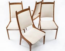 Mid century modern chair styles Metal Accent Set Of Four 4 1960s Mid Century Modern Teak Dining Chairs Cream Upholstery Made In Canada Target Mid Century Modern Chair Etsy