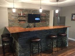 basement bar stone. Man Cave, Basement Bar, Ledge Stone And Butcher Block Bar #classymancave R