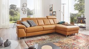 Interliving Sofa Serie 4050 Eckkombination Kurkumafarbenes Longlife Leder Cloudy Chromfüße Schenkelmaß Ca 289 X 1