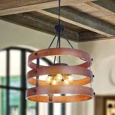 light wood drum pendant light metal