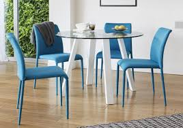 white gloss and glass dining table and colourful fabric chair dining setting
