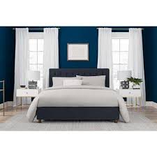 Navy blue bedroom furniture Decor Eva Blue Upholstered Linen Queen Size Bed Frame Treadgentlyinfo Blue Standard Upholstered Headboard Beds Headboards