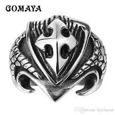 <b>GOMAYA</b> Mens <b>316L Stainless Steel</b> Rings Cross Punk Vintage Re...