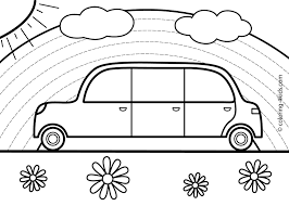 Transportation bus coloring for kids. Rainbow Car Transportation Coloring Pages For Kids Printable Coloring Pages For Kids Coloring Pages Cars Coloring Pages