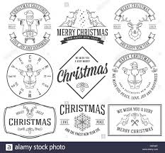 Collection Vintage Retro Christmas Labels Black And White Stock
