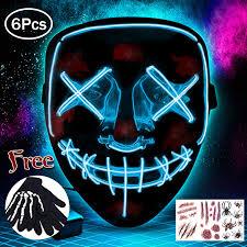 LED Light Up Mask EL Wire <b>Halloween Costume</b> Skull Full Face for ...