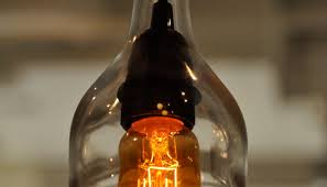 recycled glass bottle hanging gin lamp pendant with edison lightbulb