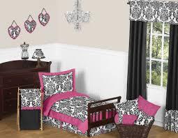 jojo designs hot pink black and white damask girls toddler kid bedding sheet set