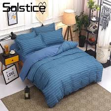 solstice home textile blue stripe bedding sets king queen twin linen suit kid s duvet comforter cover pillowcases bed sheet comforter cover queen