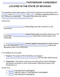 Free Michigan Partnership Agreement Template Pdf Word