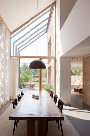 Decorations:Contemporary Dining Room Design With Carpet And Curtain  Decoration Also Modern Skylight Along With