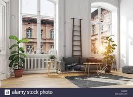 Scandinavian Design Concept Modern Scandinavian Style Interior Design 3d Illustration