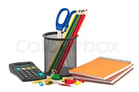 cool stationery items home. Different Set Of Stationery Items On White Background, Stock Photo Cool Home