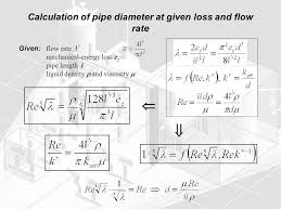 calculation of pipe diameter at given loss and flow rate