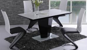 set enzo tables chairs high gloss table extending harveys small engaging round black white extendable and