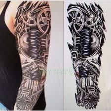 водонепроницаемая временная татуировка наклейка полный рукав большой