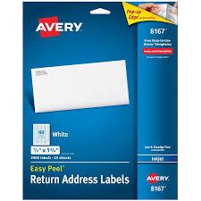 Avery 1 2 X 1 3 4 Template Avery Easy Peel Return Address Labels For Inkjet Printers 1