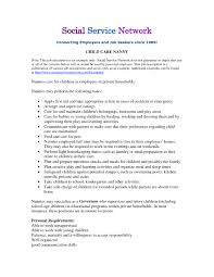 Nanny Job Description Example Website Resume Cover Letter