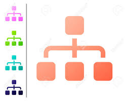 Coral Business Hierarchy Organogram Chart Infographics Icon Isolated
