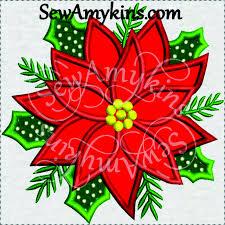 Poinsettia Designs Poinsettia Applique Christmas Flower In 3 Sizes Machine Embroidery Design