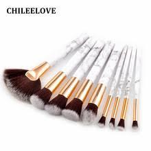 chileelove 9 pcs marble stripe pro makeup brushes kits blush bulk powder eye shadow highlight repair