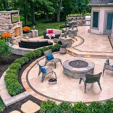 landscape patios. Travertine Stone Patio With Exterior Lighting And Fireplace Landscape Patios